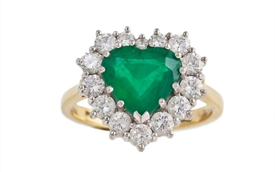 AN EMERALD AND DIAMOND HEART SHAPED CLUSTER RING, the heart ...
