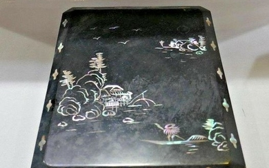 ASIAN INSPIRED Antique Wood & Mother of Pearl Inlay Box
