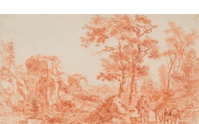 ATTRIBUTED TO WILLEM DE HEUSCH (DUTCH 1625 - 1692) SKETCH FOR ITALIANATE LANDSCAPE