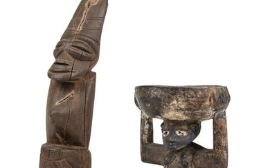 African Carved Wood Crouching Male Figure
