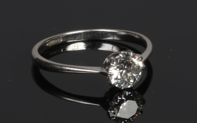 An 18 carat white gold solitaire diamond ring, old European ...