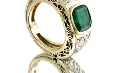 An Art Deco emerald and diamond ring, the square cut central...
