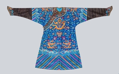 An Embroidered Blue Silk Dragons Robe, China, Qing Dynasty.