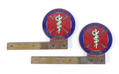 An Enamelled Pair Of NSW Doctor's Association Plaques (L:21cm)