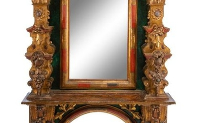 An Italian Painted and Parcel Gilt Fireplace Mantel
