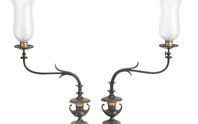 An unusual pair of Arts & Crafts bronze gas lamps, circa 1900