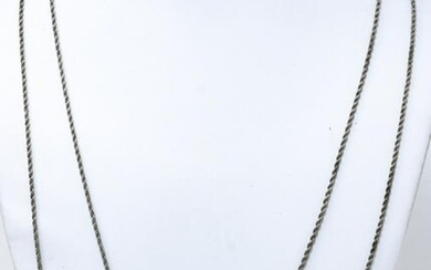 Antique C 1900 Long Sterling Watch Chain