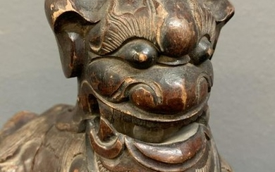 Antique Chinese Carved Wood Buddhist Lion
