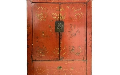 Antique Chinese Red Lacquer Gold Gilt Cabinet