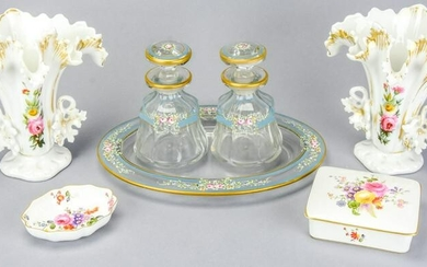 Antique Porcelain & Hand Painted Glass Vanity Set
