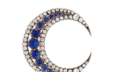 Antique Silver, Gold, Sapphire and Diamond Crescent Brooch