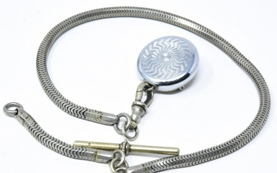 Antique Watch Fob Chain w Clip & Retractable Fob