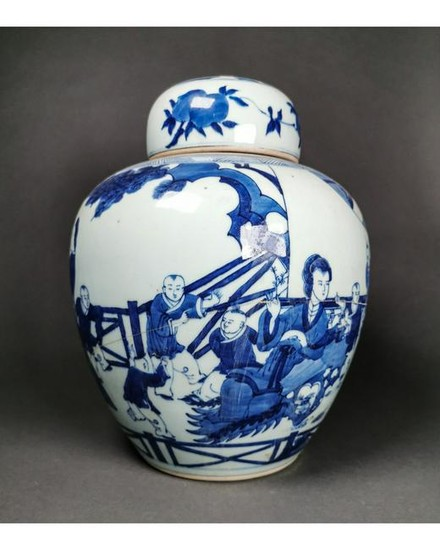BEAUTIFUL BLUE AND WHITE CHINESE JAR WITH LID - HUGE