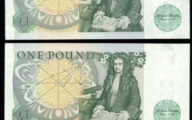 Bank of England, D. H. F. Somerset, ERROR £1, ND (1981), serial number BW66 289999, (EPM B341,...