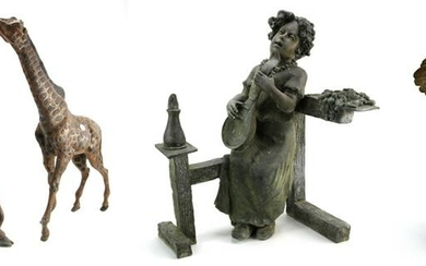Bronze Giraffes, Woman, and Child with Rooster