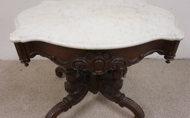 CARVED VICTORIAN MARBLE TOP TURTLE TOP TABLE