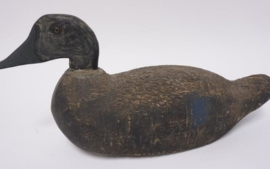 CARVED WOODEN DUCK DECOY W/ GLASS EYES
