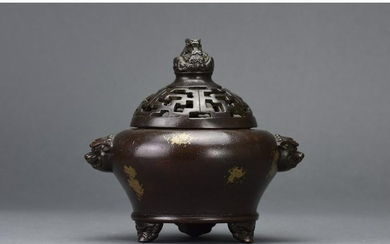 CHINESE BRONZE CENSER WITH DRAGONS