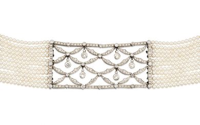 CULTURED PEARL AND DIAMOND CHOKER,