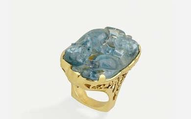 Carved aquamarine and gold ring