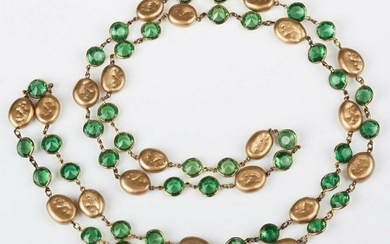 Chanel Faux Golden Coin Pearl and Green Lucite Chicklet