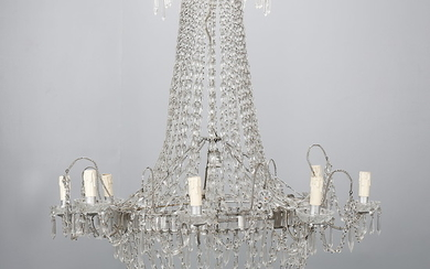 Charles IV ceiling lamp with carved crystal beads strings, first third of the 19th Century.