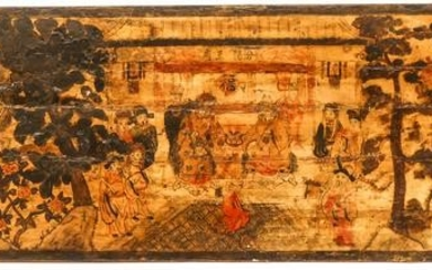Chinese 18th Cent. Polychrome Painted Wood Narrative
