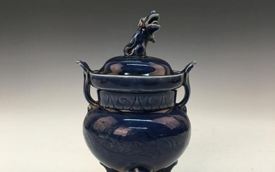 Chinese Blue Glaze Tripod-Censer