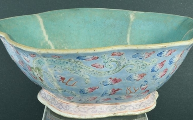 Chinese Canton Export Bowl with Blue Ground