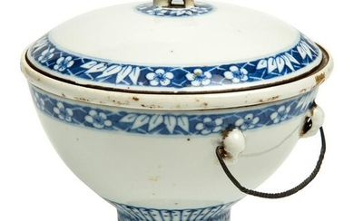 Chinese blue and white bowl with lid. Three pieces.
