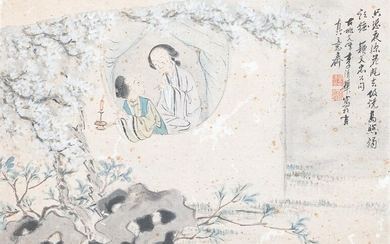 Chinese school, ink and colour on paper, Qianlong: 'Two figures near a window'