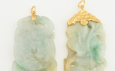 Collection of Two Jade, 20k Yellow Gold Pendants.