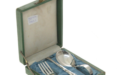 Cute Japanese Sterling Silver Baby Feeding Flatware Set.