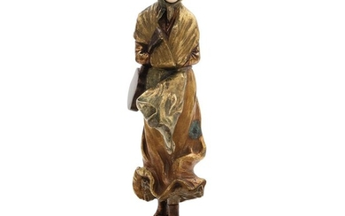 DESPUÉS DE DOMINIQUE ALONZO. France, 20th century, Chryselephantine Woman, Ivory carving with gilt and patinated bronze casting.