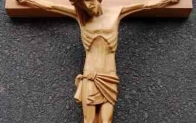 """Details about +Hand Carved Wood Crucifix (42"""" Cross"""