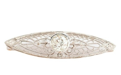 Diamond, 14k White Gold Filigree Brooch.