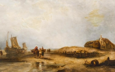 Dutch 19th Cent. Coastal Scene Oil on Canvas 28''x49''