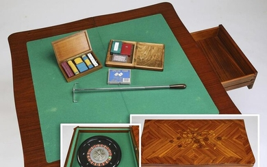 Early 20th c. French marquetry inlaid game table