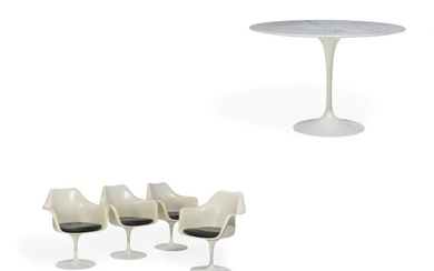 """Eero Saarinen: Tulip"""". Four white fiberglass armchairs. And circular dining table with marble top. White trumpet shaped base. H. 72. Diam. 106 cm. (5)"""