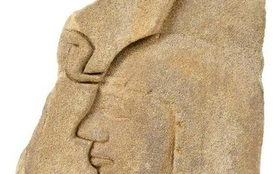 Egyptian Sandstone Relief Fragment of Face