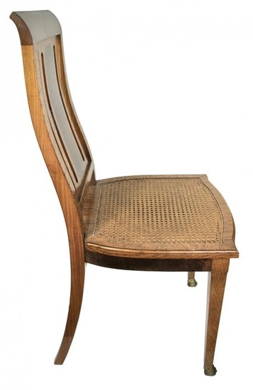 Eight French Bronze-Mounted Pollard Wood Dining Chairs