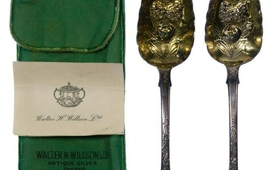 English Georgian Sterling Silver Berry Spoons
