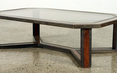 FRENCH BURL WALNUT BRASS COFFEE TABLE C.1970