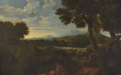 Follower of Gasper Dughet, Landscape with waterfall and figures along the bank