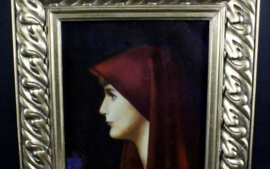 "Framed Porcelain Plaque Of S. Fabiola"" After Jean Jacqu"