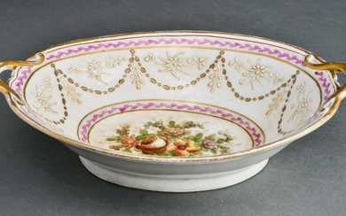 French Hand-Painted w Gilt-Trim Porcelain Bowl