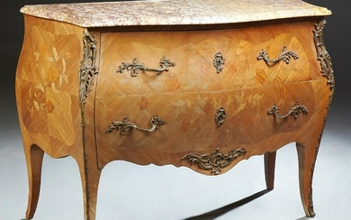 French Louis XV Style Marquetry Inlaid Marble Top Bombe