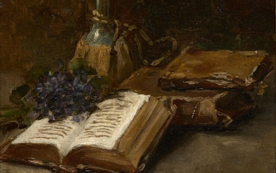 French School, late 19th century- Still life with books, a...