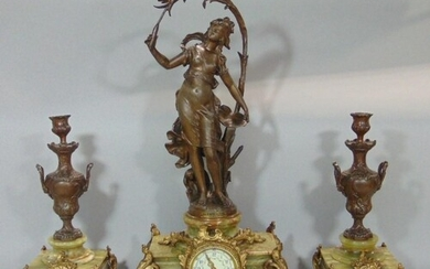 French spelter figural garniture mantel clock, the 3 inch tw...