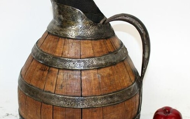 French wood & iron wine pitcher